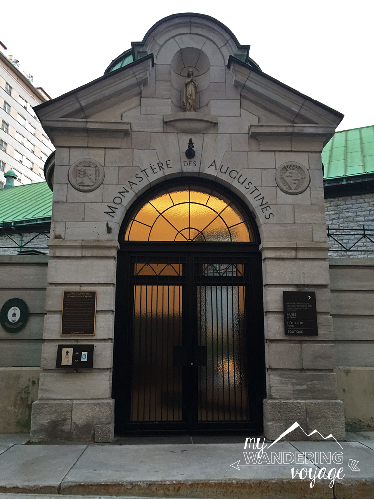 entrance of Le Monastere des Augustines monastery Quebec City | My Wandering Voyage travel blog