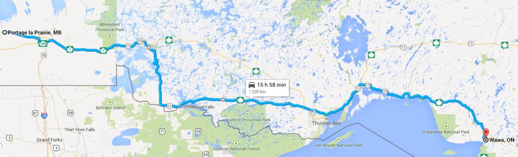 Kilometre 930 (Wawa) to kilometre 2,302 (Portage-la-Prairie)