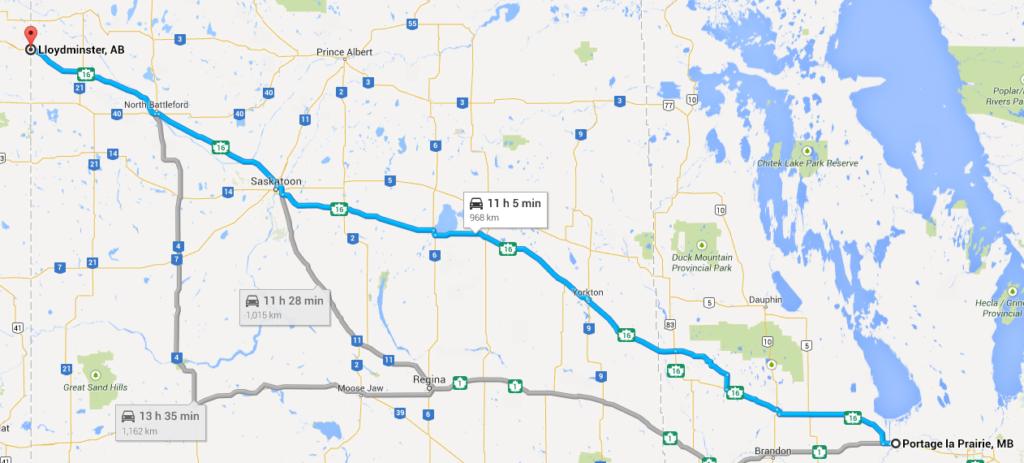 Kilometre 2,302 (Portage la Prairie) to Kilometre 3,284 (Lloydminster)