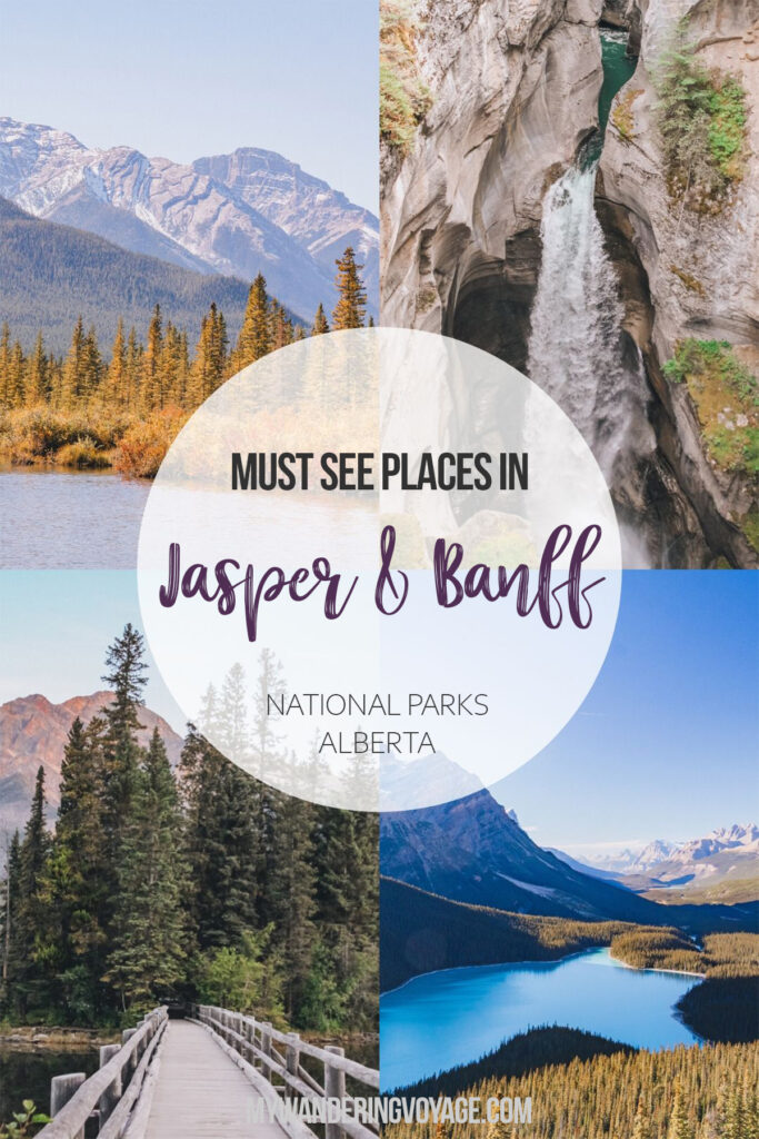 Must see places between Jasper and Banff National Parks, Alberta, Canada – No trip to Canada is complete without experiencing the Canadian Rockies in Jasper National Park and Banff National Park. Here are the best places to stop along the Icefields Parkway and beyond. | My Wandering Voyage travel blog #Jasper #Banff #Alberta #Canada #Travel #IcefieldsParkway #roadtrip