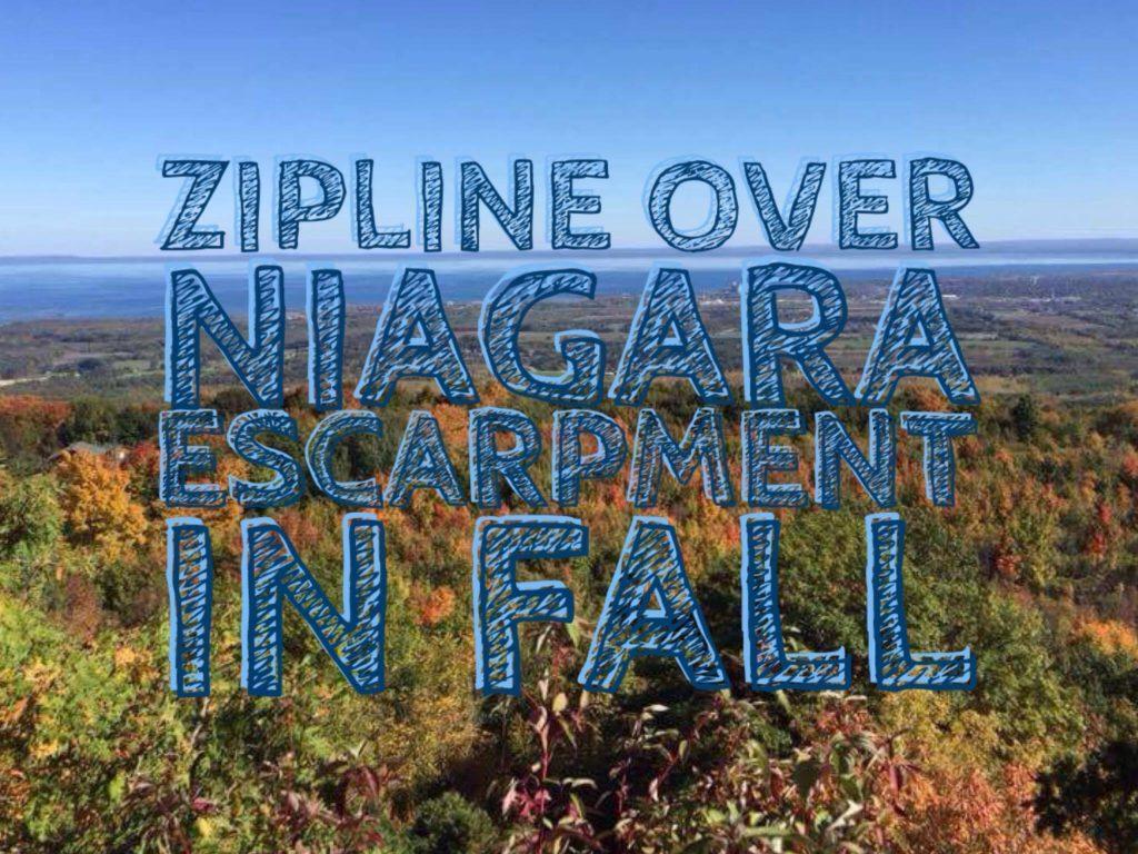Zipline over Niagara Escarpment in Fall