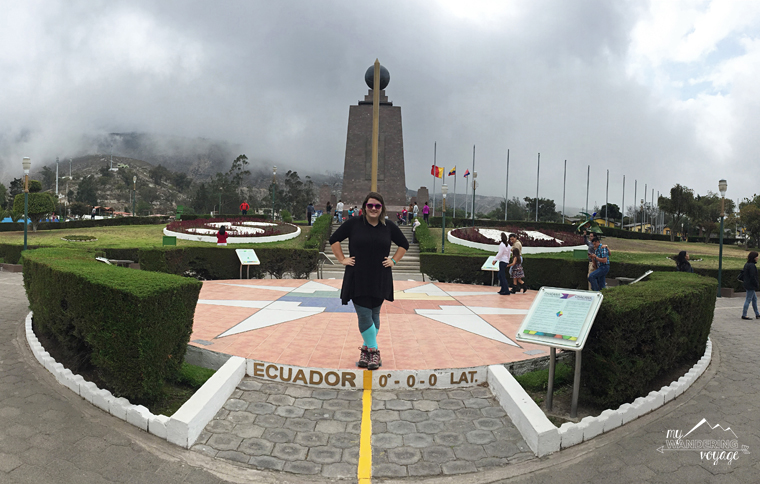"Standing on the ""equator"" in Quito, Ecuador 