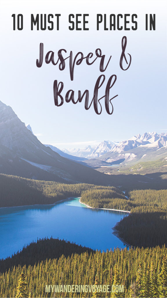 10 places you must stop between Jasper and Banff, Alberta – No Canadian trip is complete without experiencing Jasper National Park and Banff National Park. Here's what you should see in Canada's top tourist destination. | My Wandering Voyage travel blog #jasper #banff #alberta #canada #travel
