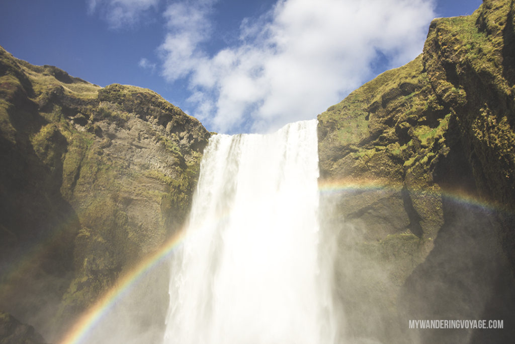 Skogafoss - Iceland waterfall - we stayed here overnight when the winds were too strong to continue - Experience Iceland through a rental campervan - campervans are the best way to see Iceland on your own schedule | My Wandering Voyage travel blog