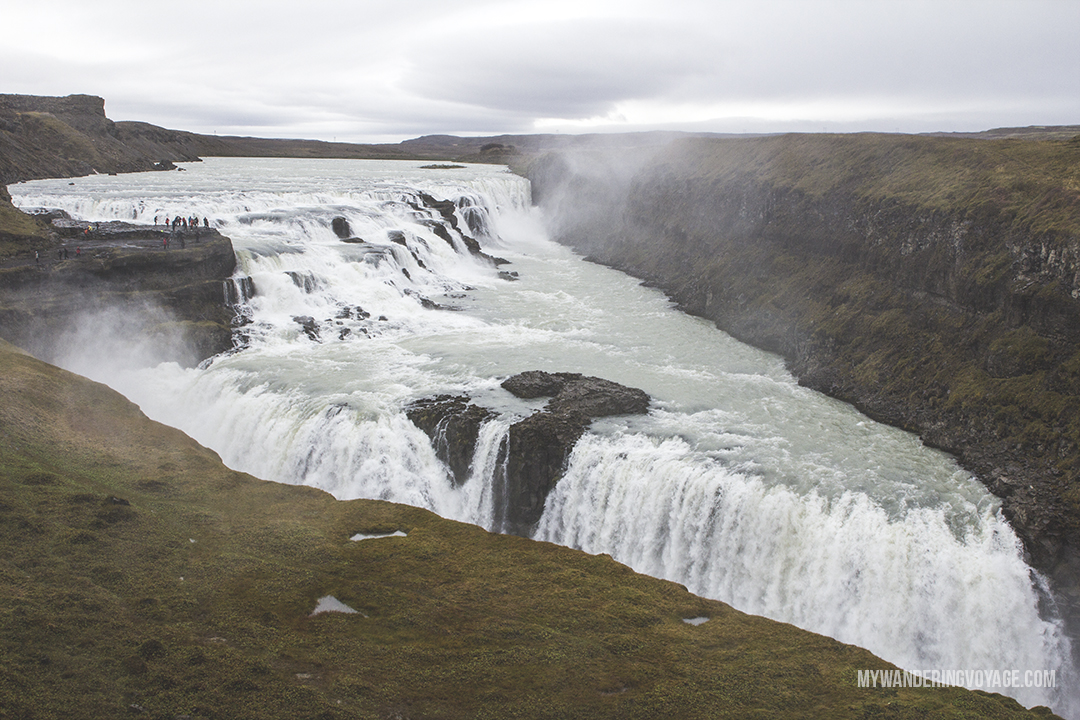 Gullfoss - The Golden Circle is a well-known destination in Iceland, and it's easy to see why. The Golden Circle is part of a road loop that can be seen in a day from Reykjavik and hits some of Iceland's most famous landmarks | My Wandering Voyage travel blog