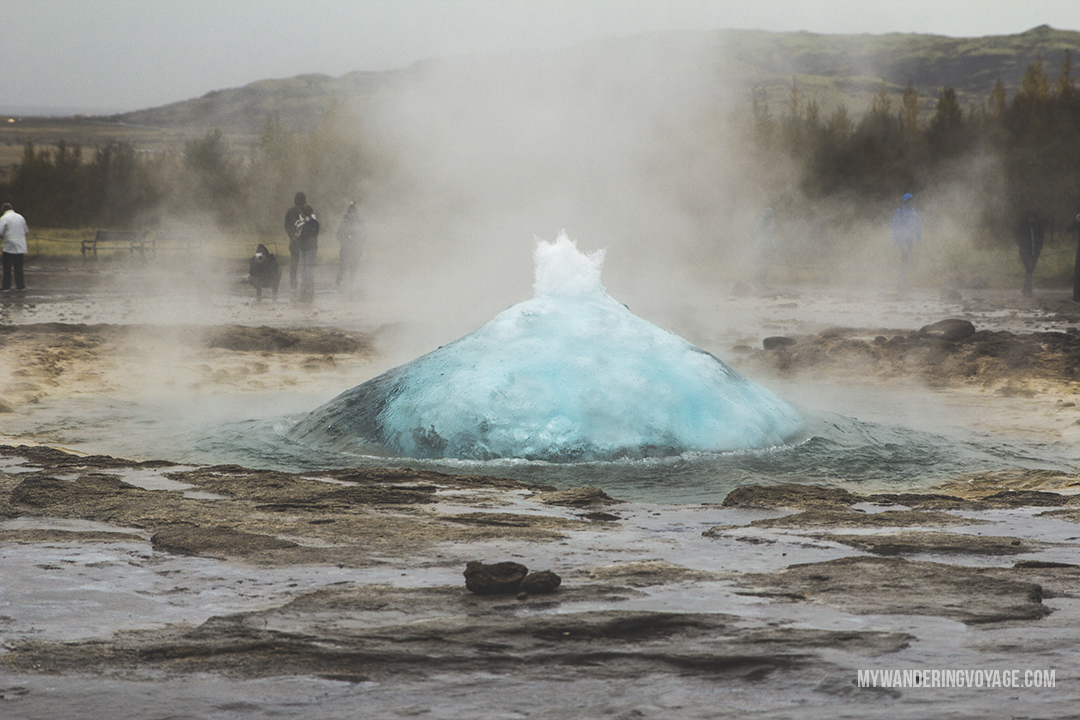 Geysir - The Golden Circle is a well-known destination in Iceland, and it's easy to see why. The Golden Circle is part of a road loop that can be seen in a day from Reykjavik and hits some of Iceland's most famous landmarks | My Wandering Voyage travel blog