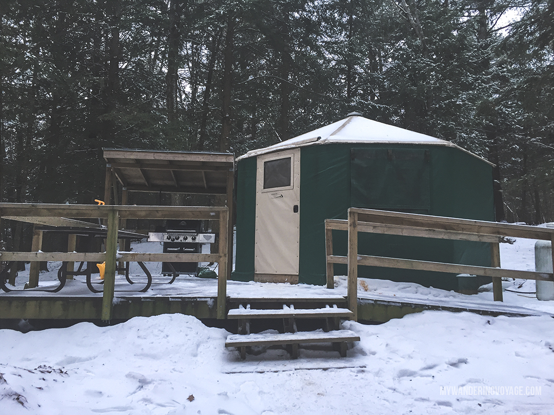 Winter doesn't have to be about staying inside to escape the cold! Embrace it by winter camping in one of Ontario's provincial parks. Silent Lake Provincial Park in Ontario, Canada offers yurts during the winter, for come cold-weather fun. | My Wandering Voyage travel blog