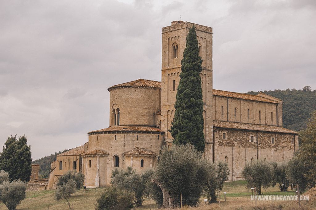 Sant'Antimo Abbey Tuscany | Find the best Tuscan villages to visit from Rome in a day. Tuscany is known for its rolling hills, its vibrant cultural cities, its picturesque hilltop towns, and for the food and wine that people flock here for. | My Wandering Voyage #travel blog #Tuscany #Italy #Europe