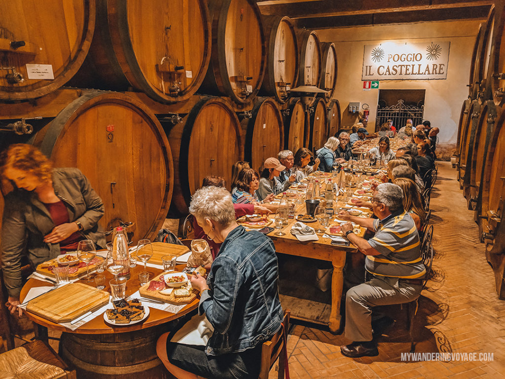 Wine tasting in Tuscany | Find the best Tuscan villages to visit from Rome in a day. Tuscany is known for its rolling hills, its vibrant cultural cities, its picturesque hilltop towns, and for the food and wine that people flock here for. | My Wandering Voyage #travel blog #Tuscany #Italy #Europe