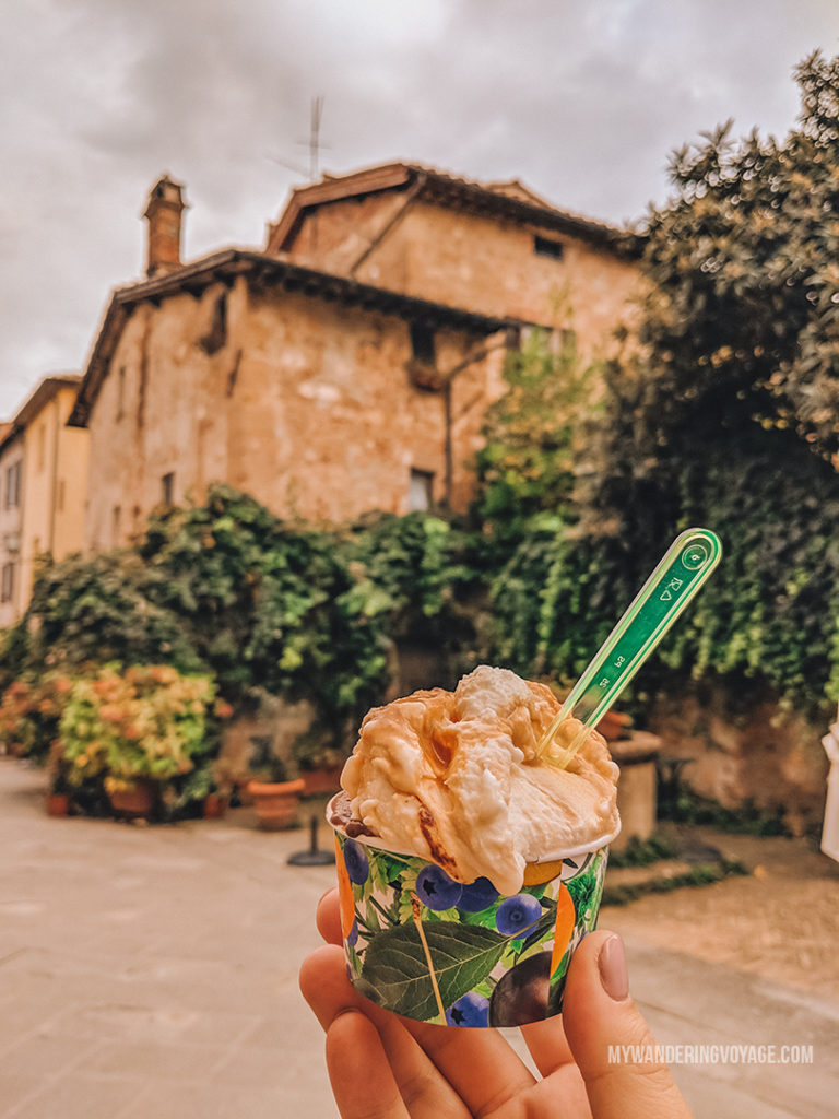 Best gelato in Italy | Find the best Tuscan villages to visit from Rome in a day. Tuscany is known for its rolling hills, its vibrant cultural cities, its picturesque hilltop towns, and for the food and wine that people flock here for. | My Wandering Voyage #travel blog #Tuscany #Italy #Europe