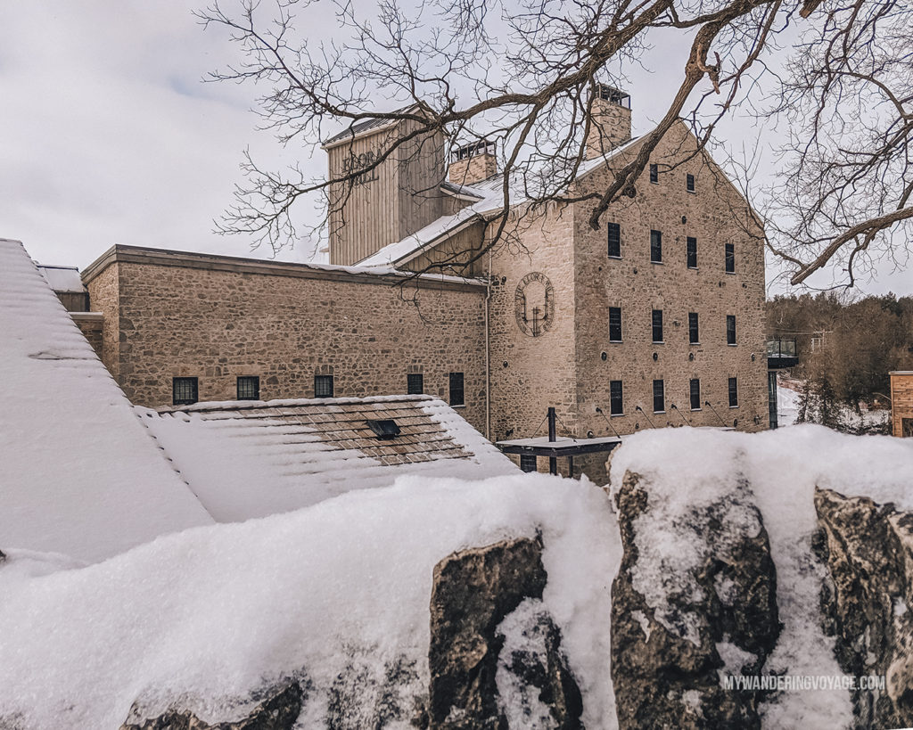 Elora Mill in the Winter | The ultimate list of things to do in Elora, Ontario. Visit Elora for its small town charm, natural beauty and one-of-a-kind shops and restaurants | My Wandering Voyage travel blog