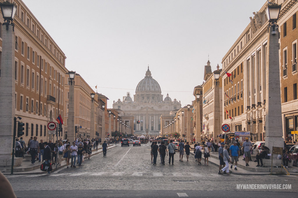 Views of St. Peter's Basilica, Rome | With these 23 mistakes to avoid in Rome, Italy, you'll be a seasoned traveller before you even land in the airport. | My Wandering Voyage travel blog #Rome #traveltips #travel #Italy