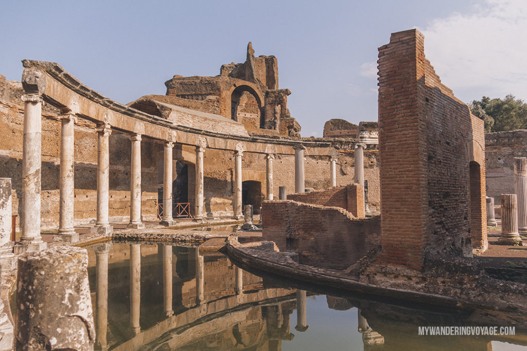 Villa Adriana maritime theatre | Visit UNESCO World Heritage Sites Villa Adriana and Villa d'Este in a day trip to Tivoli, Italy, a mountainside town about 30 kilometres from Rome. | My Wandering Voyage travel blog #rome #italy #travel #UNESCO