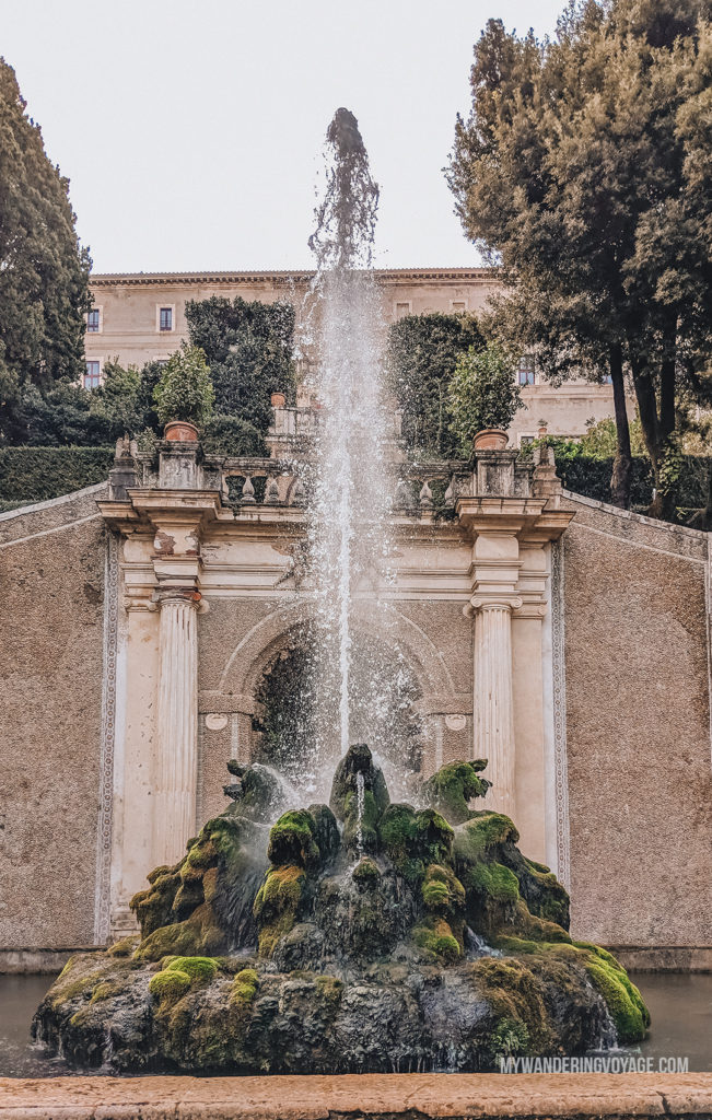 Villa d'Este dragon fountain | Visit UNESCO World Heritage Sites Villa Adriana and Villa d'Este in a day trip to Tivoli, Italy, a mountainside town about 30 kilometres from Rome. | My Wandering Voyage travel blog #rome #italy #travel #UNESCO