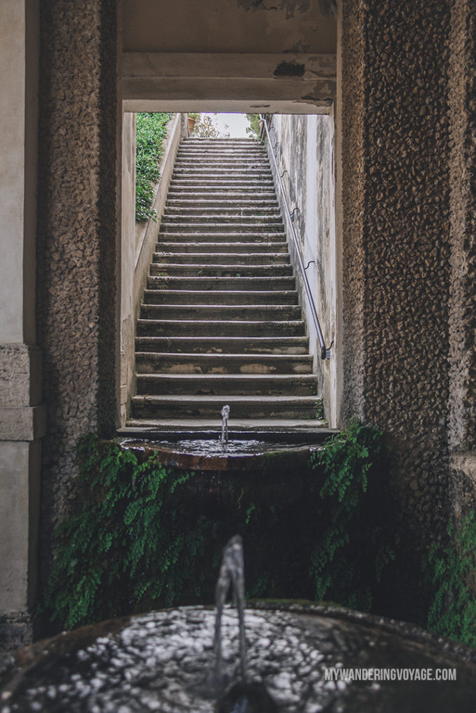 Villa d'Este fountain stairs | Visit UNESCO World Heritage Sites Villa Adriana and Villa d'Este in a day trip to Tivoli, Italy, a mountainside town about 30 kilometres from Rome. | My Wandering Voyage travel blog #rome #italy #travel #UNESCO