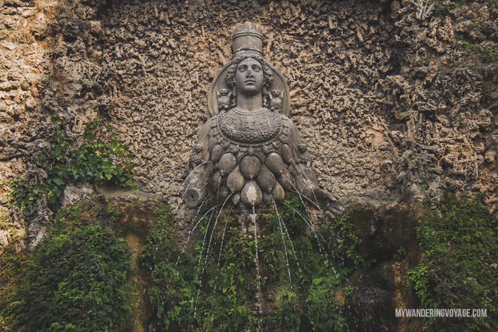 Villa d'Este Fountain of Mother Nature | Visit UNESCO World Heritage Sites Villa Adriana and Villa d'Este in a day trip to Tivoli, Italy, a mountainside town about 30 kilometres from Rome. | My Wandering Voyage travel blog #rome #italy #travel #UNESCO