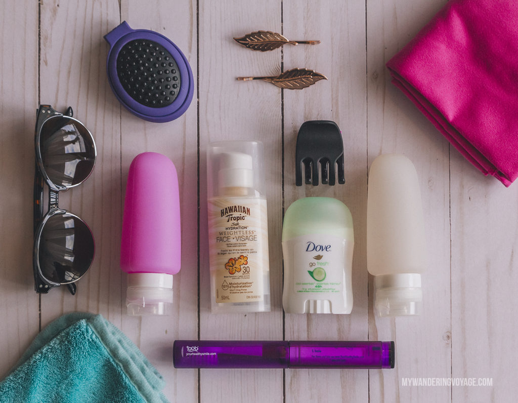 Toiletries to pack | In Canada, summer temperatures range from coast to coast to coast. It can be hard to know what to pack for Canada in summer. This guide will help. #packingguide #packinglist #summertravel #travel #Canada