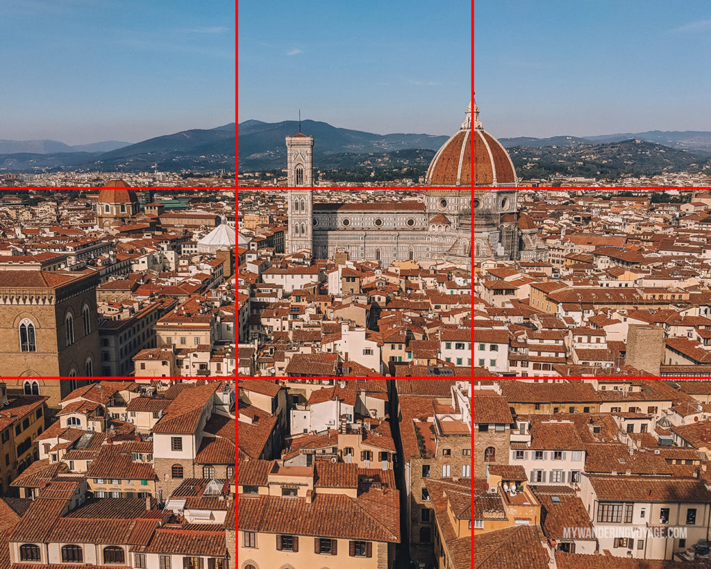 Florence overlook with rule of thirds | With the powerful device in your pocket you can take incredible photos of your travels. Here is the ultimate guide to smartphone travel photography. | My Wandering Voyage travel blog #travel #photography #tips #travelphotography #smartphonephotography
