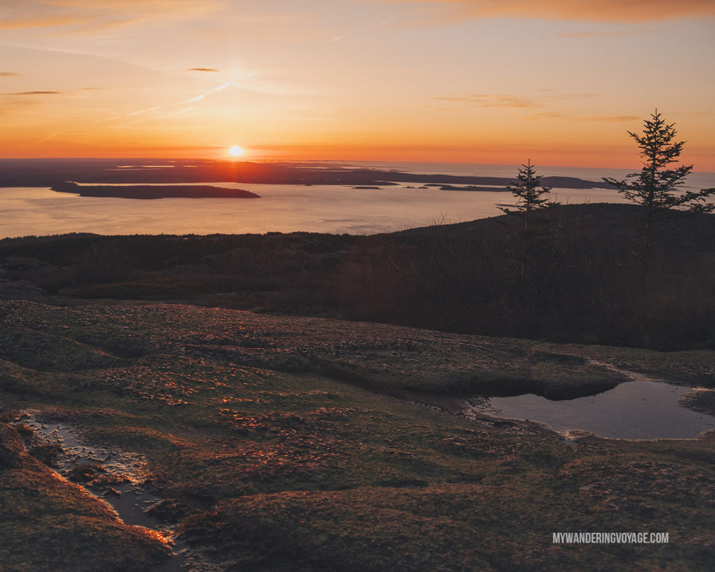 Acadia National Park at Sunrise   This New England road trip itinerary will take you on the scenic route from Boston to Portland, Mid Coast Maine and Acadia National Park.   My Wandering Voyage #Boston #Portland #Maine #travel