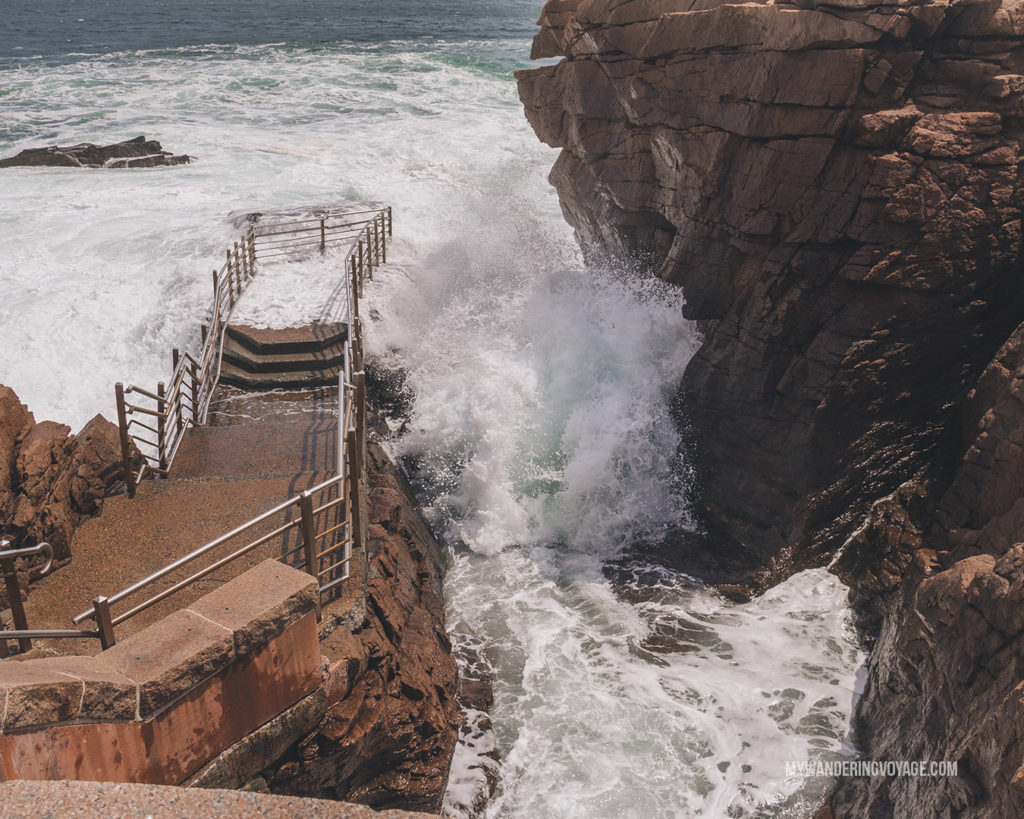Thunder hole, Acadia National Park | This New England road trip itinerary will take you on the scenic route from Boston to Portland, Mid Coast Maine and Acadia National Park. | My Wandering Voyage #Boston #Portland #Maine #travel