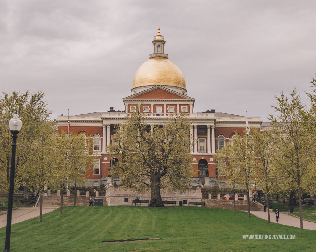 Massachusetts State House seen from Boston Common | This New England road trip itinerary will take you on the scenic route from Boston to Portland, Mid Coast Maine and Acadia National Park. | My Wandering Voyage  #Boston #Portland #Maine #travel