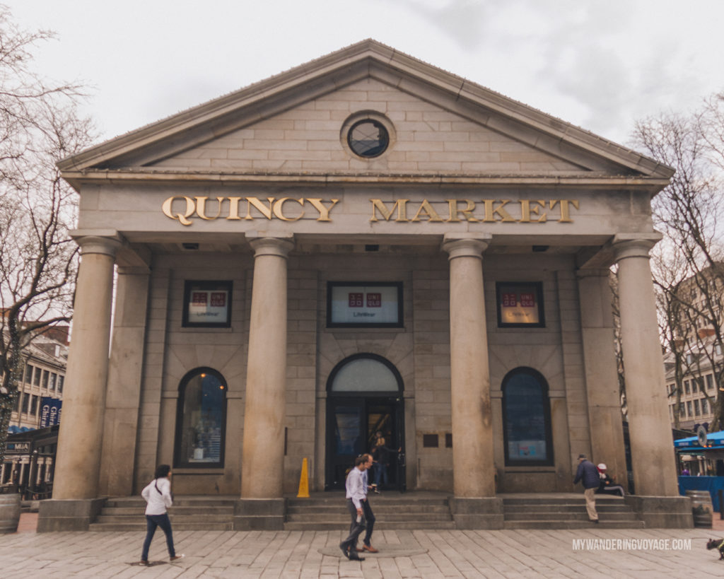 Quincy Market, Boston | This New England road trip itinerary will take you on the scenic route from Boston to Portland, Mid Coast Maine and Acadia National Park. | My Wandering Voyage #Boston #Portland #Maine #travel