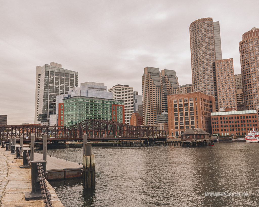 Fan Pier Park overlooking Boston | This New England road trip itinerary will take you on the scenic route from Boston to Portland, Mid Coast Maine and Acadia National Park. | My Wandering Voyage #Boston #Portland #Maine #travel