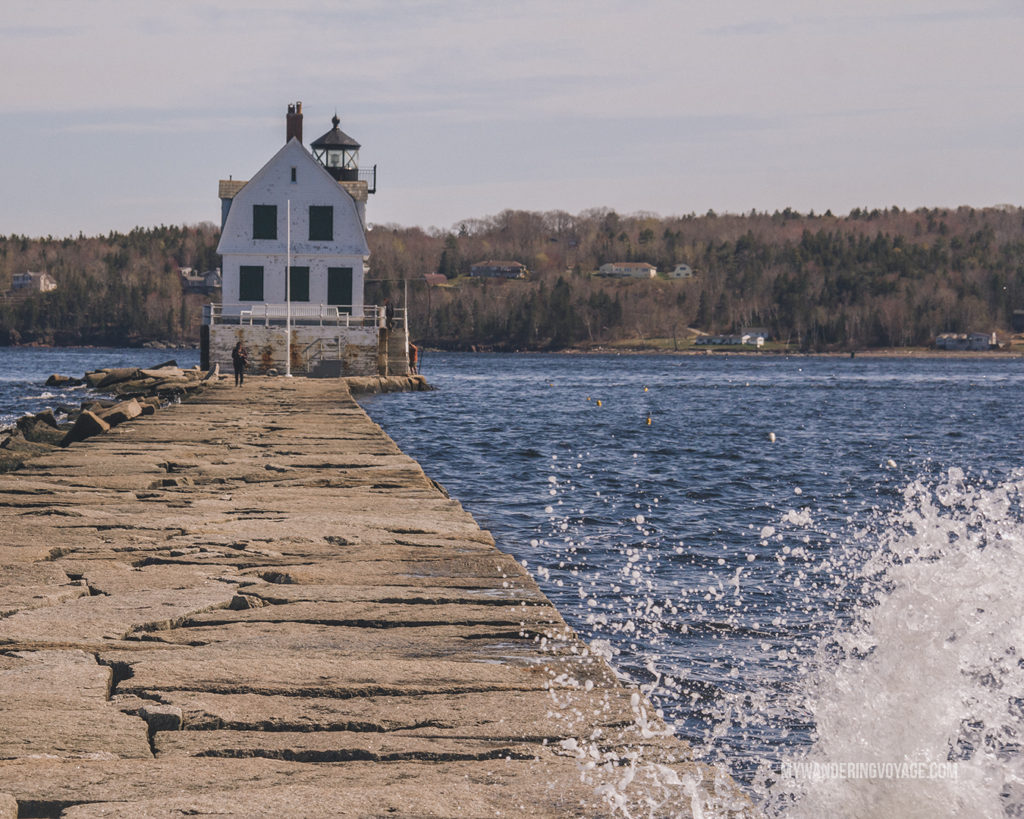 Rockland Breakwater Lighthouse   This New England road trip itinerary will take you on the scenic route from Boston to Portland, Mid Coast Maine and Acadia National Park.   My Wandering Voyage #Boston #Portland #Maine #travel
