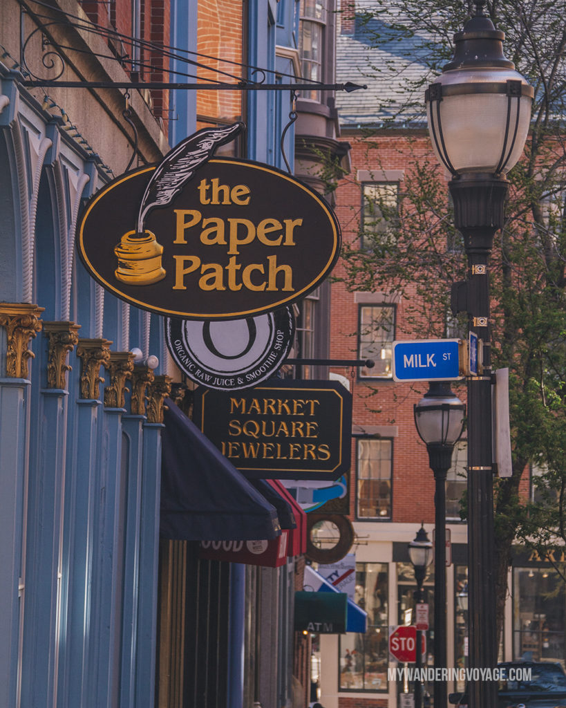Portland Exchange Street   This New England road trip itinerary will take you on the scenic route from Boston to Portland, Mid Coast Maine and Acadia National Park.   My Wandering Voyage #Boston #Portland #Maine #travel
