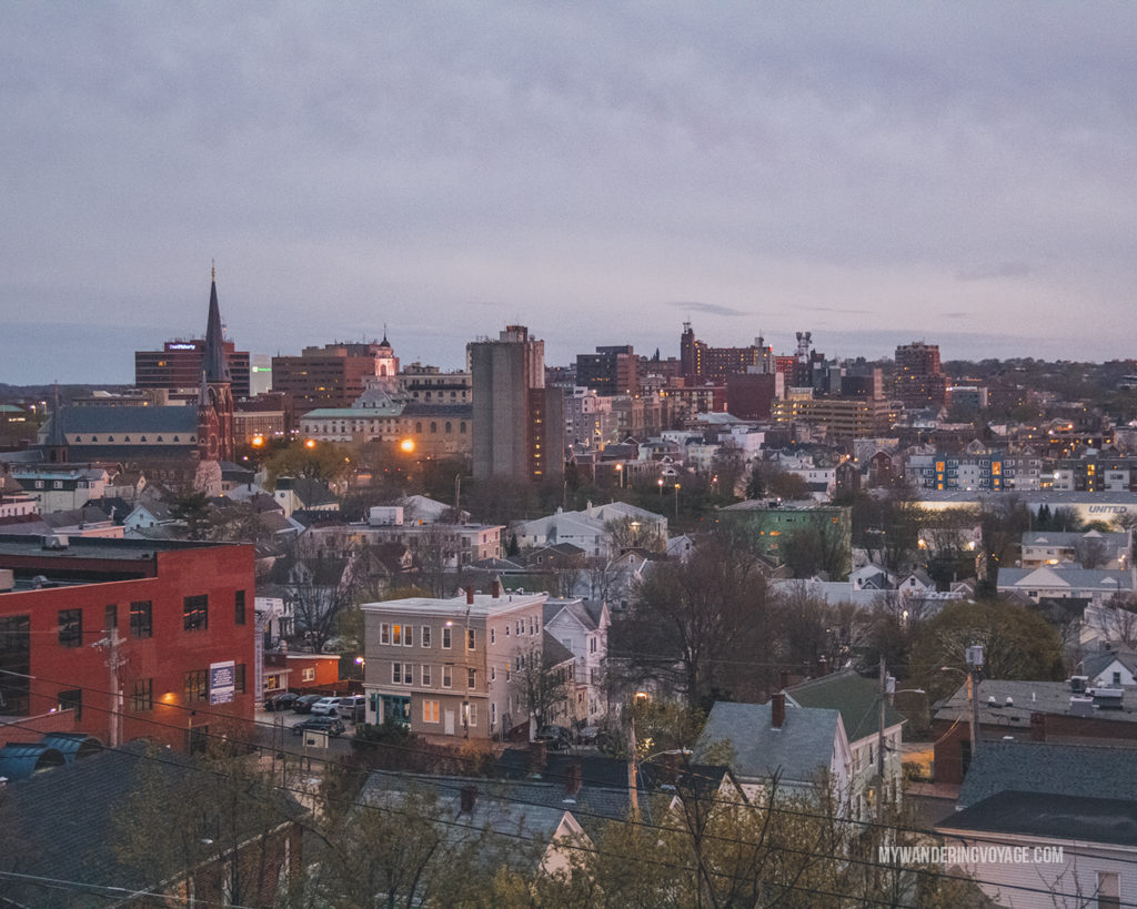 View of Portland from Munjoy Hill | This New England road trip itinerary will take you on the scenic route from Boston to Portland, Mid Coast Maine and Acadia National Park. | My Wandering Voyage  #Boston #Portland #Maine #travel