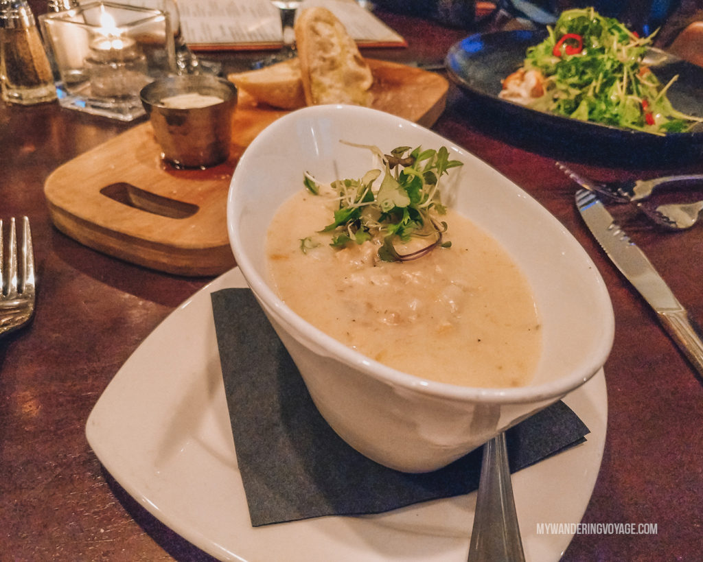 BlueFin clam chowder | Grab your best gal pals or significant other for the ultimate weekend getaway in Portland, Maine. Find where to stay, what to eat and things to do in this guide to Portland, Maine. | My Wandering Voyage travel blog #Portland #Maine #USA #travel