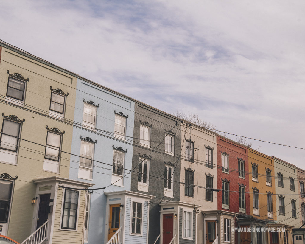 Colourful row of houses in Portland, Maine | Grab your best gal pals or significant other for the ultimate weekend getaway in Portland, Maine. Find where to stay, what to eat and things to do in this guide to Portland, Maine. | My Wandering Voyage travel blog #Portland #Maine #USA #travel