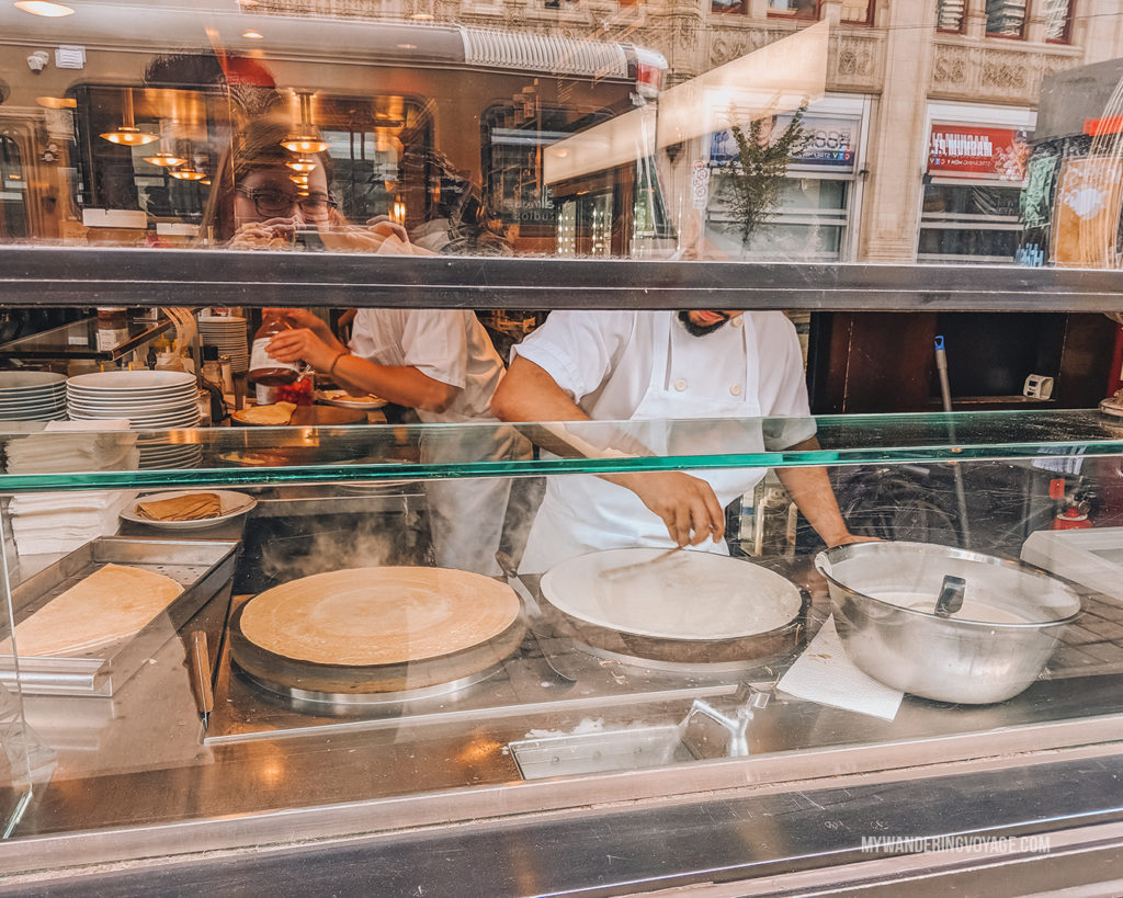 people making crepes at cafe crepe toronto