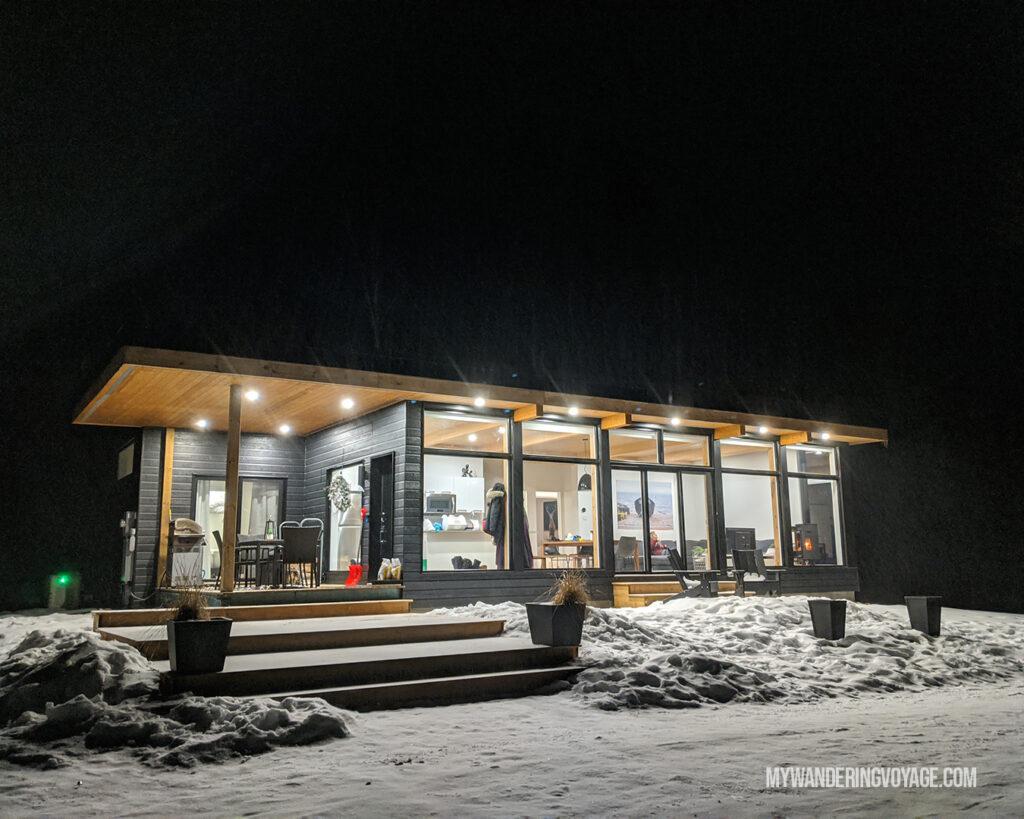 Muskoka Airbnb winter at night