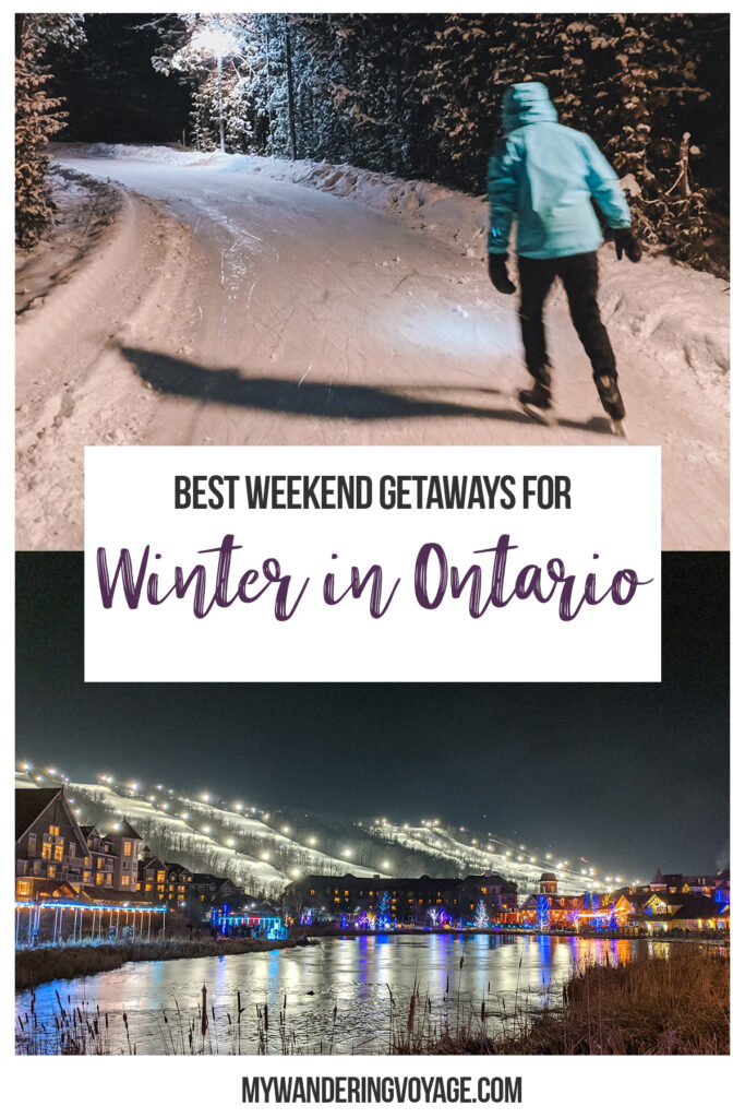 Despite the blistering cold, the layers of clothes and lack of sun, there are so many great reasons to enjoy winter in Ontario, Canada! These nine towns across Ontario have embraced the season. So, bundle up and get ready to explore the best winter destinations in Ontario for a weekend getaway. #WinterDestinations #Ontario #Canada #Travel