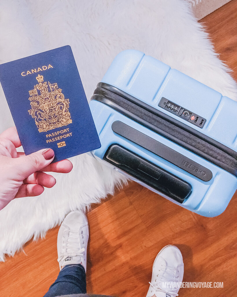Chester suitcase with Canadian Passport | CHESTER luggage review for best carry on luggage | My Wandering Voyage Travel Blog