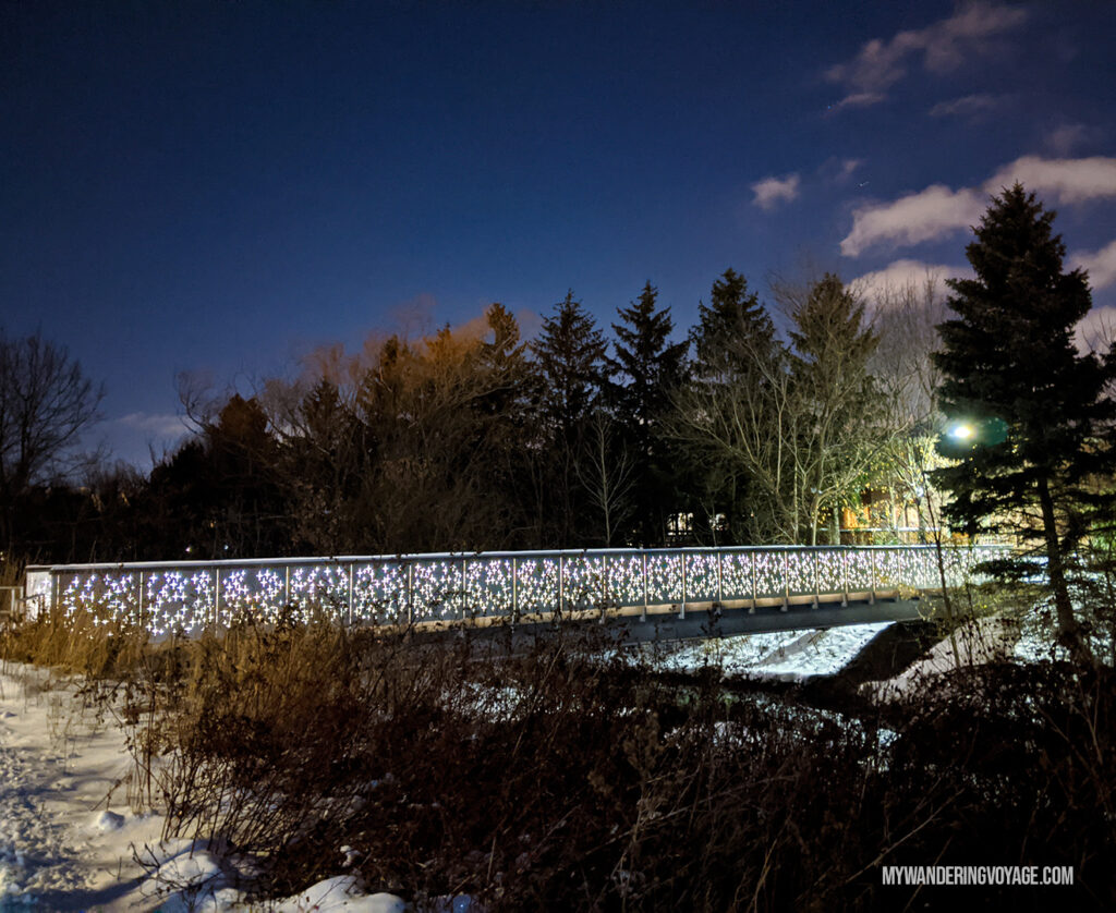 Nightstar bridge Richmond Hill at night | Best scenic bridges in Ontario you have to visit | My Wandering Voyage travel blog