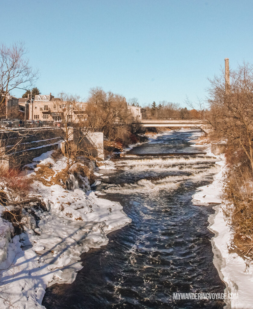 view from the pedestrian bridge in Fergus | Best scenic bridges in Ontario you have to visit | My Wandering Voyage travel blog