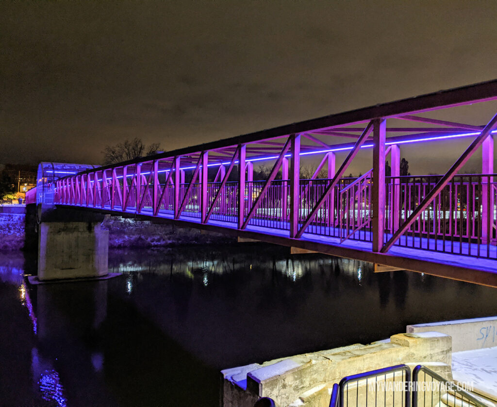 Cambridge pedestrian bridge at night | Best scenic bridges in Ontario you have to visit | My Wandering Voyage travel blog