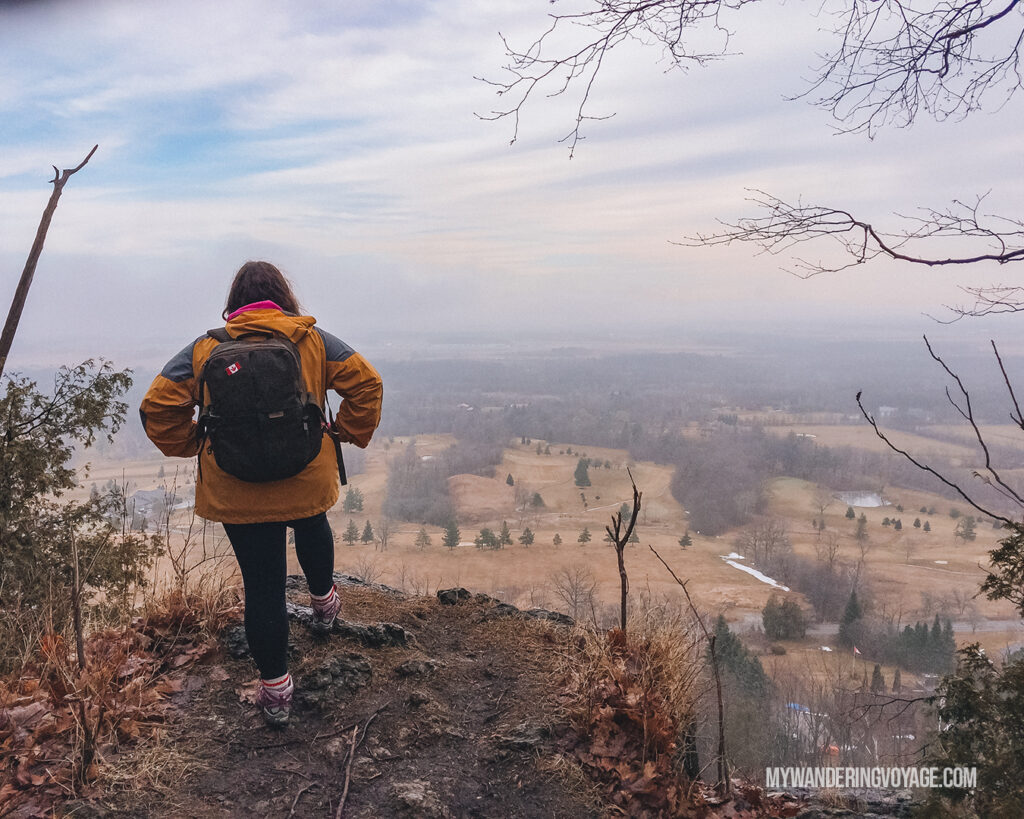 Woman overlooking Mount Nemo | Hiking the Bruce Trail: 14 side trails to explore | My Wandering Voyage travel blog