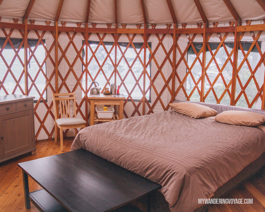 inside the Wya Point yurt | Vancouver Island road trip 5 day itinerary | My Wandering Voyage