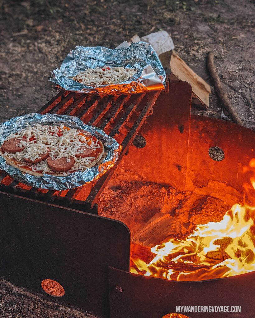 Campfire pizza | Beginners guide to camping + camping essentials | My Wandering Voyage travel blog