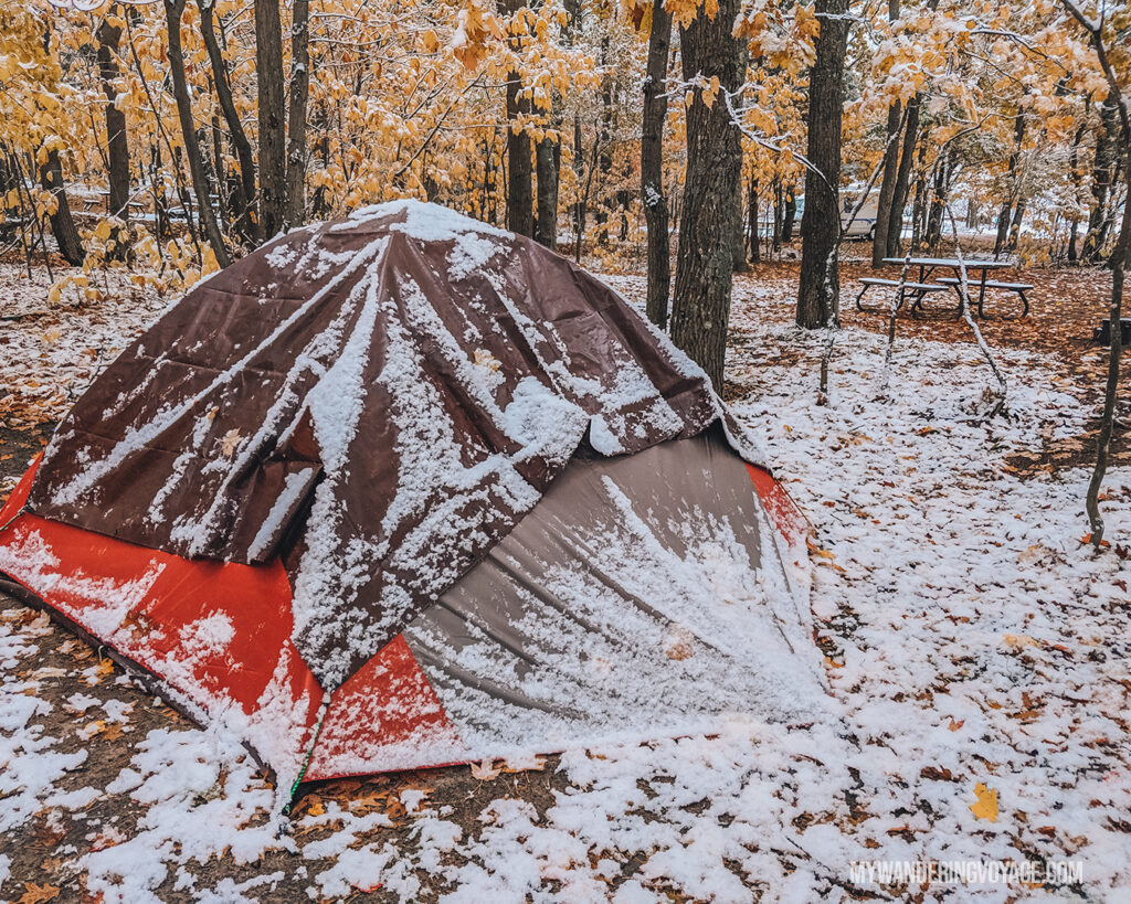 Tarp over a snowy tent | Beginners guide to camping + camping essentials | My Wandering Voyage travel blog