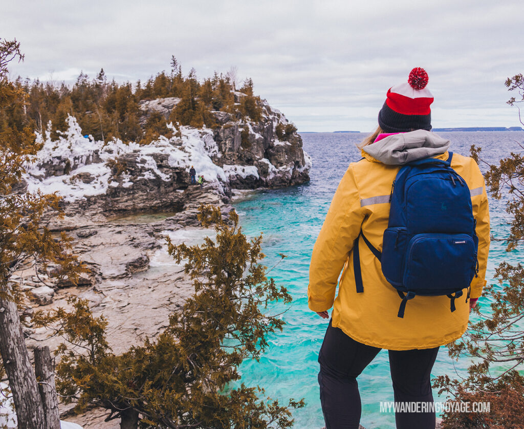 Overlooking Bruce Peninsula National Park in Winter | The Ultimate Guide to National Parks in Ontario | My Wandering Voyage travel blog #travel #Ontario #Canada #BrucePeninsula #ThousandIslands #camping