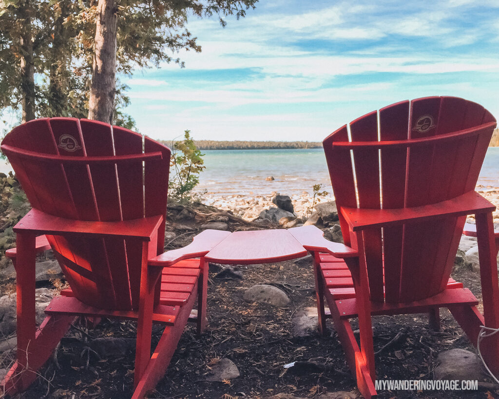 Share the Chair (red chairs) at Bruce Peninsula National Park | The Ultimate Guide to National Parks in Ontario | My Wandering Voyage travel blog #travel #Ontario #Canada #BrucePeninsula #ThousandIslands #camping
