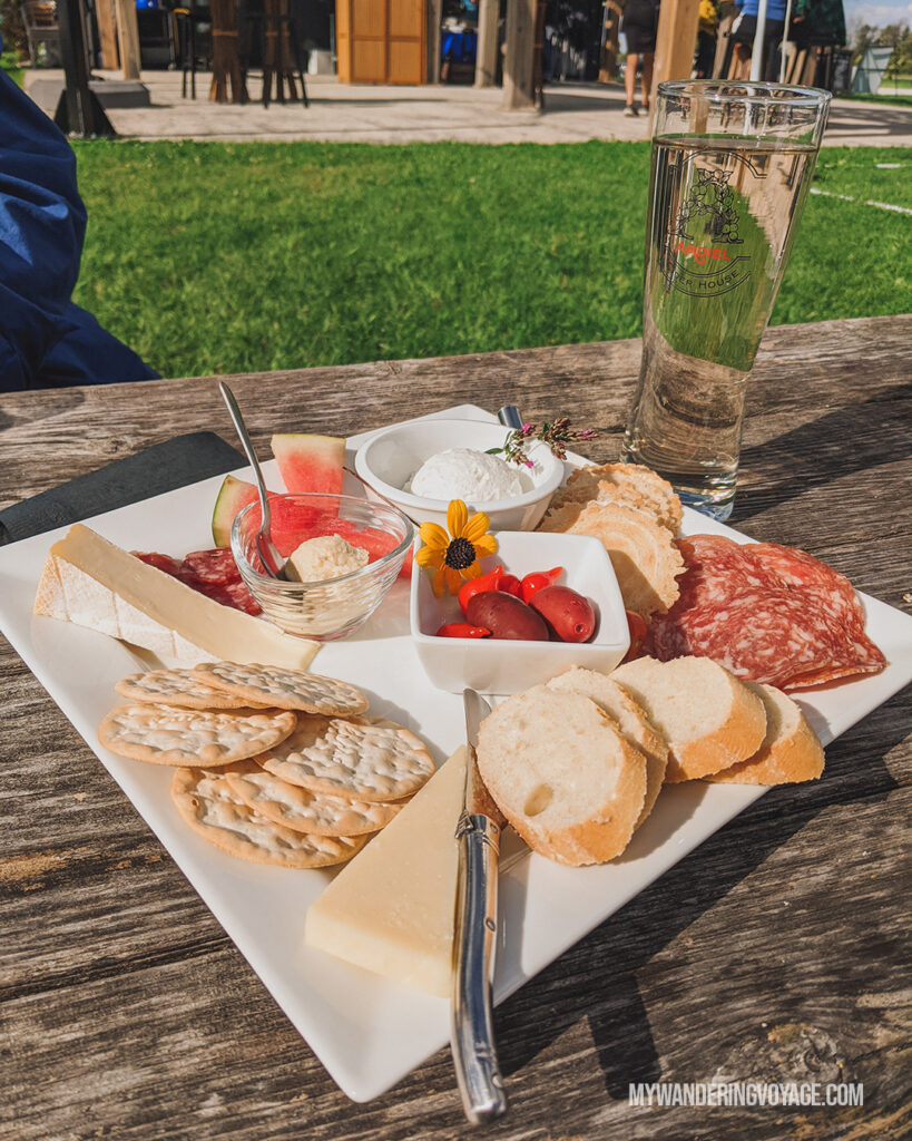 Georgian Hills vineyard charcuterie plate | Ontario Cider: Take a self-guided Georgian Bay cider tour | My Wandering Voyage travel blog #Ontario #Cider #GeorgianBay #daytrip