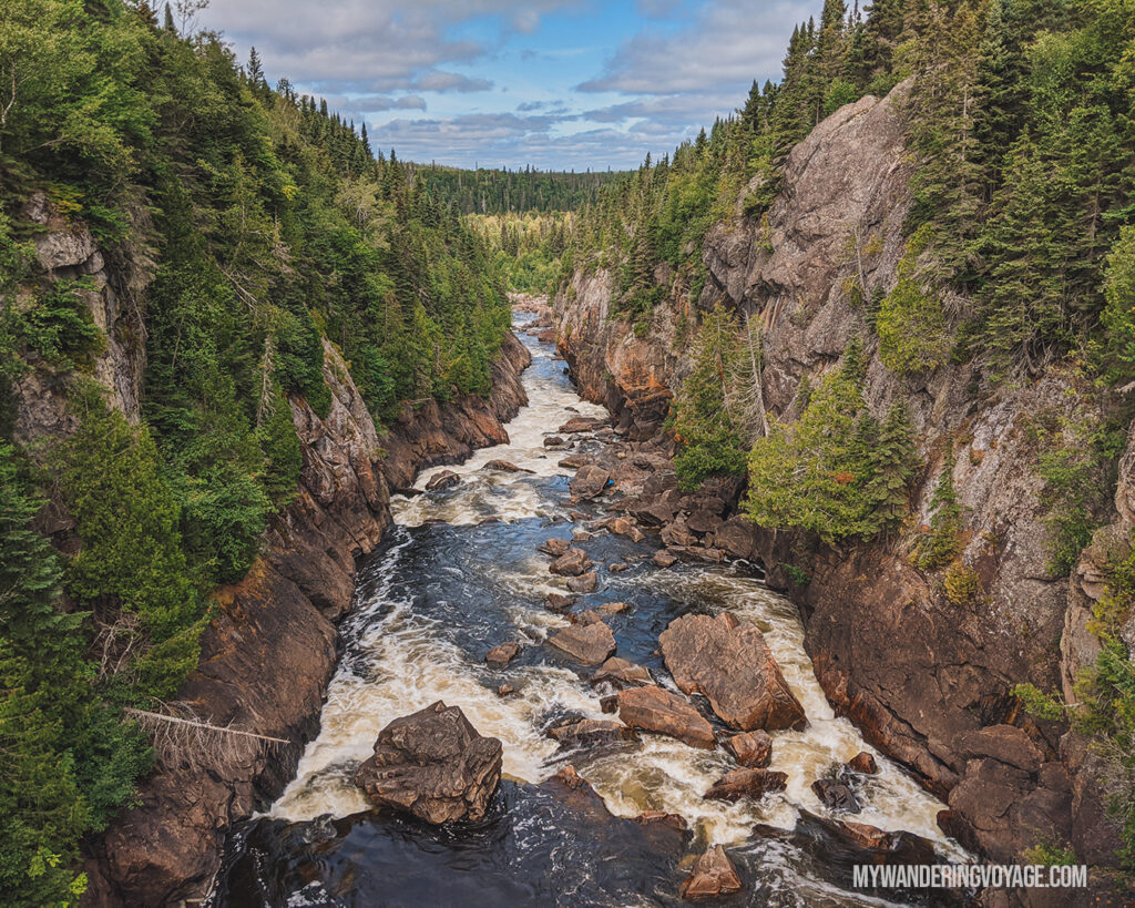White River Suspension Bridge at Pukaskwa National Park | The Ultimate Guide to National Parks in Ontario | My Wandering Voyage travel blog #travel #Ontario #Canada #BrucePeninsula #ThousandIslands #camping