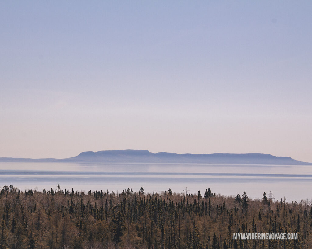 View of Sleeping Giant from Terry Fox Memorial near Thunder Bay | Toronto to Thunder Bay: a 10-day Northern Ontario road trip along Lake Superior's spectacular coast | My Wandering Voyage travel blog #LakeSuperior #RoadTrip #Ontario #Canada #travel