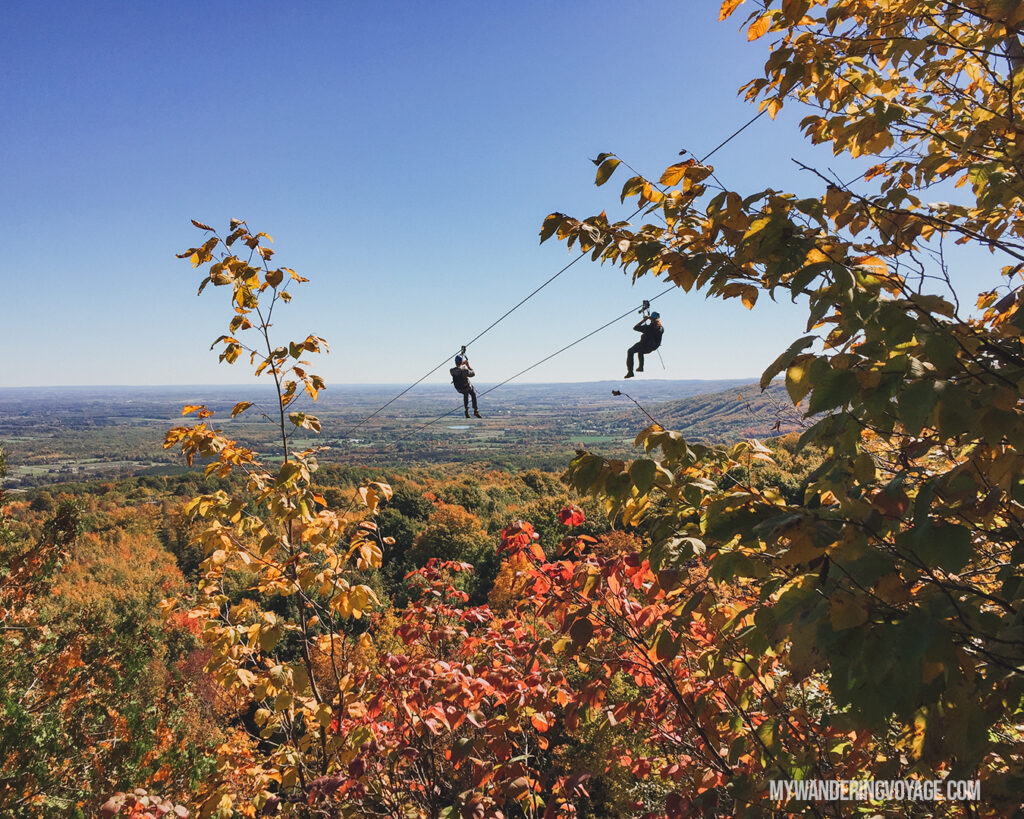 Zipline at Scenic Caves near Blue Mountain |100 Unforgettable Ontario experiences that make the perfect gifts | My Wandering Voyage #Travel Blog #Ontario #GiftIdea #GiftExperiences