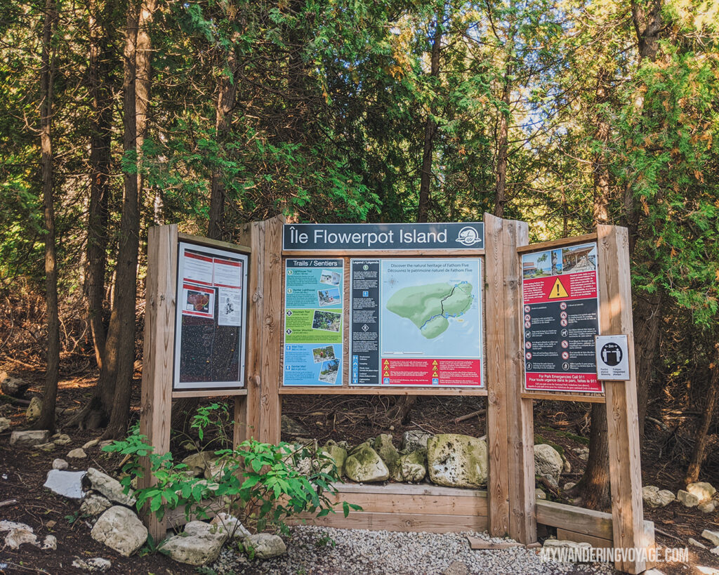 Flowerpot Island trail map | The Complete guide to camping on Flowerpot Island | My Wandering Voyage travel blog #FlowerpotIsland #Tobermory #BrucePeninsula #Ontario #Canada #Travel #Camping